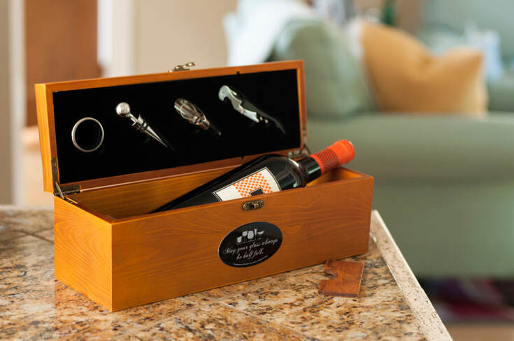 Personalized Wood Wine Box from LifeLong Gifts by Magnets USA